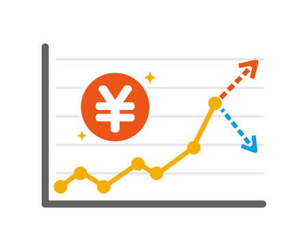 illustration of money charts (up or down) / JPY 向量圖像