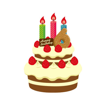 Birthday Cake Illustration For 6 Years Old Stock Vector