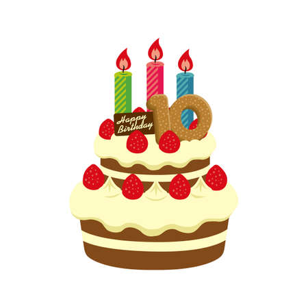 Birthday Cake Illustration For 10 Years Old Stock Vector