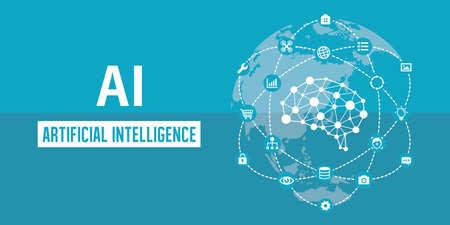 Illustrazione dell'insegna di immagine di AI (intelligenza artificiale).