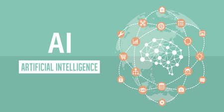 AI (artificial intelligence) image banner illustration. Ilustracja