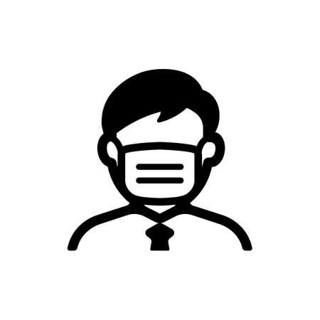 gezichtsmasker, griepmasker icoon (man)