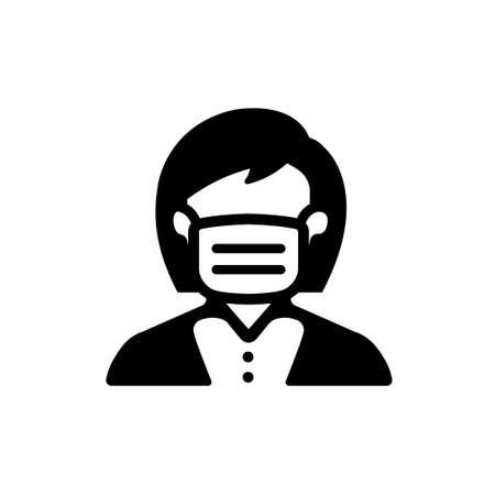 face mask, flu mask icon (woman)
