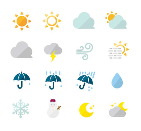 Weather icon set  color version (sun, rainy, cloudy, snow, foggy etc.) Illusztráció