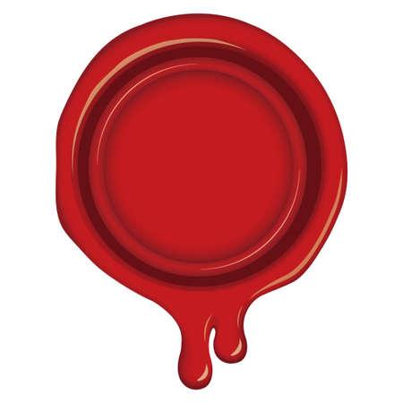 Illustration de cachet de cire à cacheter / dégoulinant, fondant (rouge)
