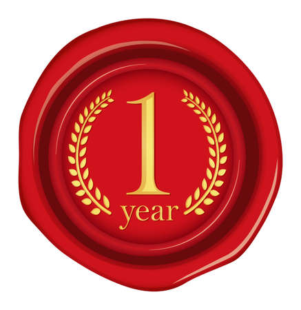 Sealing wax, stamp illustration / year anniversary (1 year)