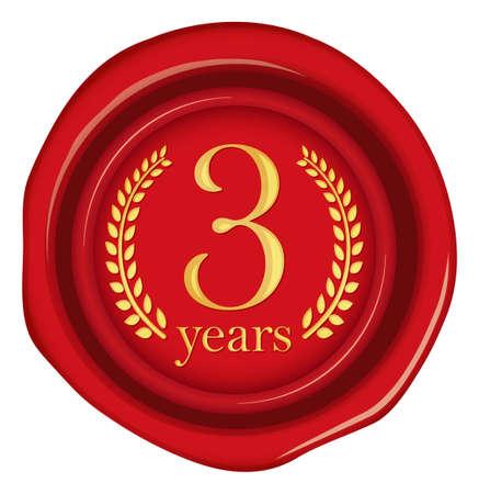 Sealing wax, stamp illustration / year anniversary (3 years)