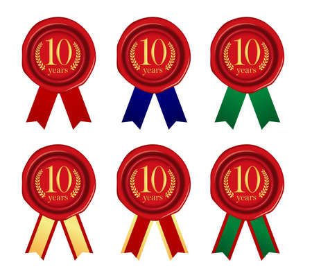 Sealing wax & ribbon illustration set / year anniversary (10 years) Vettoriali