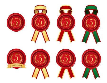 Sealing wax & ribbon illustration set / year anniversary (5 years) Vettoriali