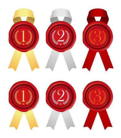 Sealing Wax/Stamp Ribbon illustration (number/ranking) from 1st place to 3rd place.