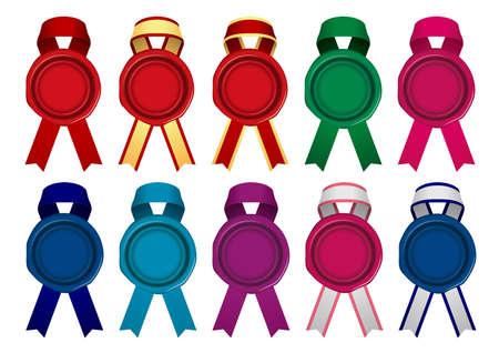 Sealing Wax/Stamp Ribbon illustration set (color variation)