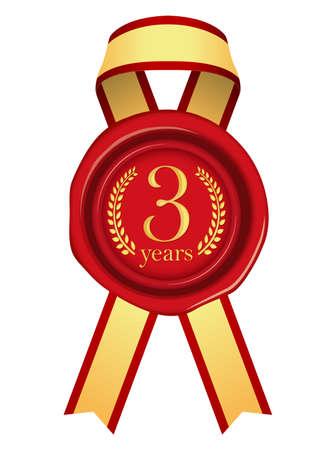 Sealing Wax Ribbon illustration (Year Anniversary)5 years