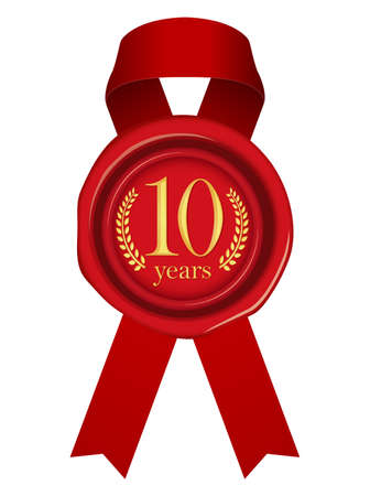 Sealing Wax Ribbon illustration (Year Anniversary)10 years 向量圖像