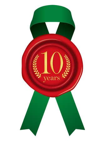 Sealing Wax Ribbon illustration (Year Anniversary)/10 years