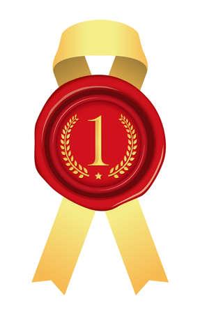 Sealing Wax/stamp Ribbon illustration (number/ranking) 1st place