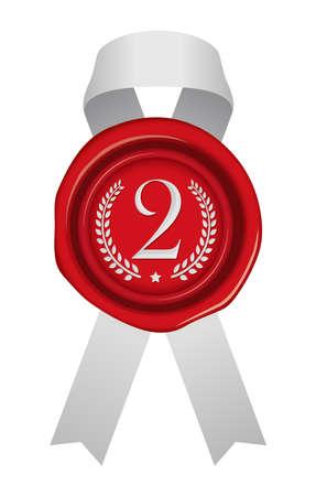 Sealing Wax/stamp Ribbon illustration (number/ranking) 2nd place