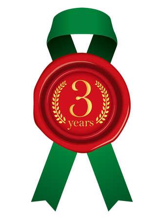Sealing Wax Ribbon illustration (Year Anniversary)/3 years Foto de archivo - 123848807