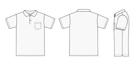 Modello di polo (maglietta da golf) Illustrazione (davanti/dietro/lato) Vettoriali