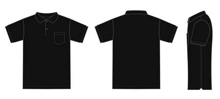 Polo Shirt (golf shirt) template Illustration (front/back/side) Çizim