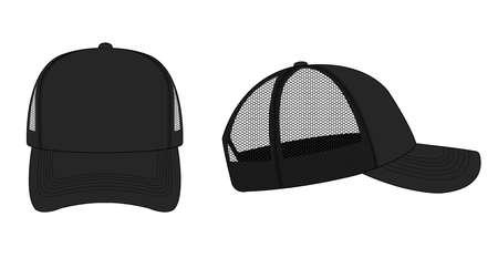 Ilustracja szablonu czapki trucker / czapki z siatki