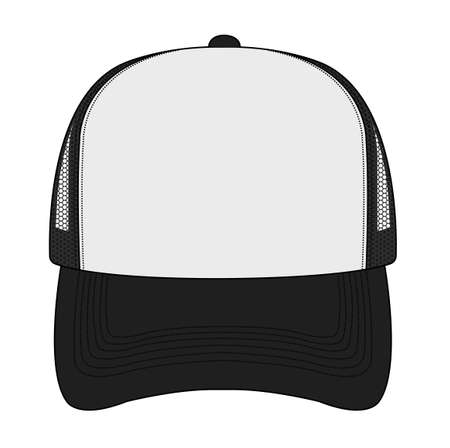 Trucker capmesh cap template illustration (front view)