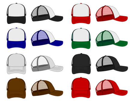 Trucker capmesh cap template illustration Set