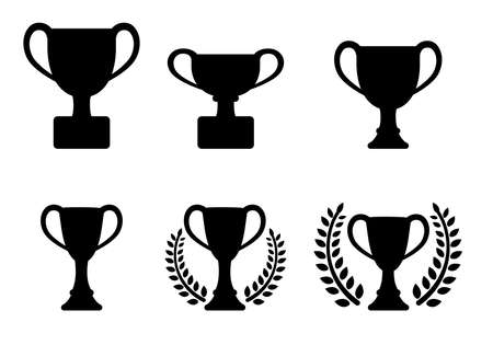 Trophy Cup silhouette icon set.