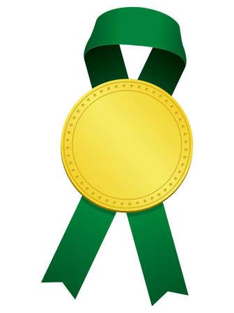 Gold Medal Ribbon Illustration/Green Foto de archivo - 123849052