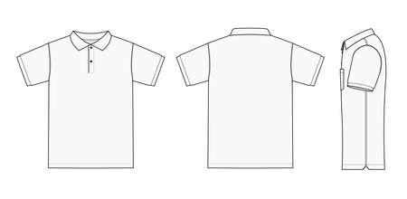 Koszulka polo (koszulka golfowa) ilustracja szablonu (przód/tył/bok)/biały Ilustracje wektorowe