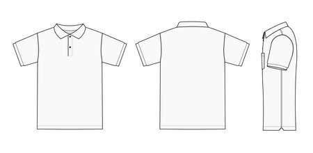 Poloshirt (Golfshirt) Vorlage Illustration (Vorderseite/Rückseite/Seite)/Weiß Vektorgrafik