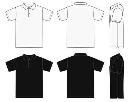 Conjunto de ilustraciones de plantilla de camisa de polo (camisa de golf) (anverso / reverso / lateral) / BLANCO y L ack