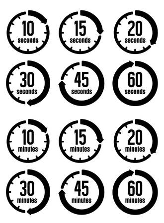 Clock, Timer (time Passage) icon set (Form 10 seconds to 60 secondsForm 10 minutes to 60 minutes)