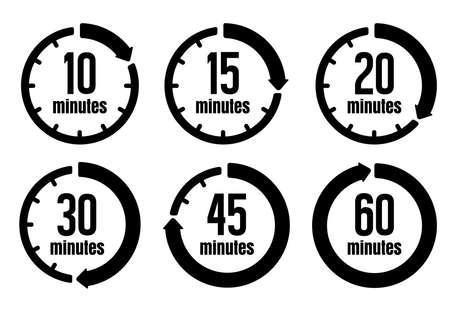 Horloge, jeu d'icônes de minuterie (passage du temps) (formulaire de 10 minutes à 60 minutes)
