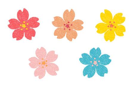 Flower (cherry blossom) stamp illustration set. For New Years greeting card Çizim