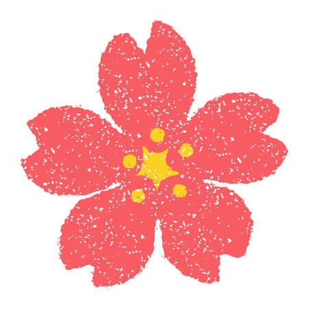 Flower (cherry blossom) stamp illustrationpink. For New Years greeting card Çizim