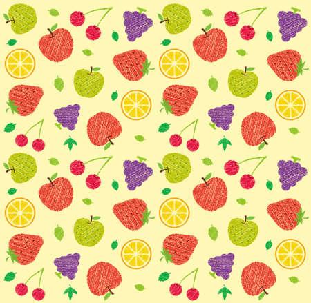 Illustrazione del modello tessile senza cuciture con frutta e fiori (stile di scrittura a mano/tratto di matita colorata)