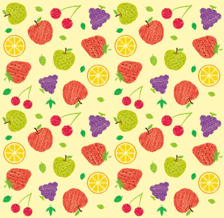 Seamless textile pattern illustration with fruits and flowers (handwriting style/Colored pencil stroke)