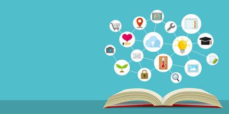Platte webbannerillustratie voor kennis, technologie, zaken en onderwijs enz.
