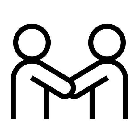 Thin line sharp vector iconshake hands, partnership, cooperation