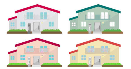 Detailed Cottage houses. Flat vector illustration set (color variations). Illustration
