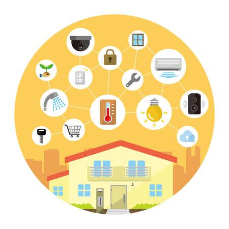 Smart home (smart house) technology concept flat illustration (round shape).