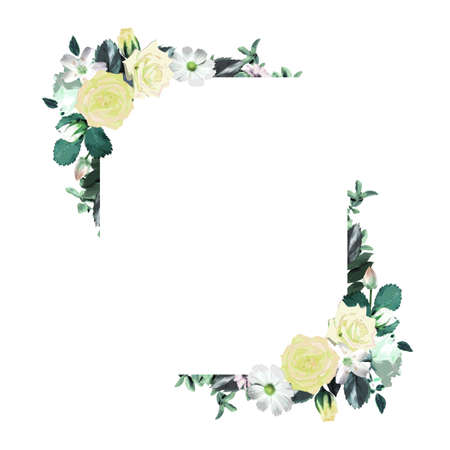 Floral square wreath frame template (with copy space)