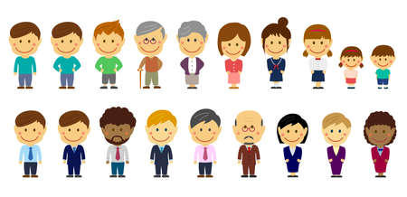 Cartoon deformed person vector illustration set ( Asian,business person,family,students etc.)