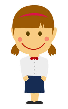 Cartoon deformed female student vector illustration ( Japanese, Asian, high school , school uniform )