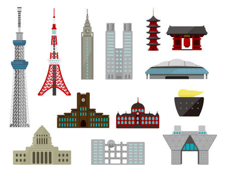 Tokyo landmark buildings (tower, temple etc.) flat vector illustration set.