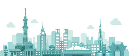 Tokyo skyline flat vector illustration. Tokyo landmark buildings. Illustration