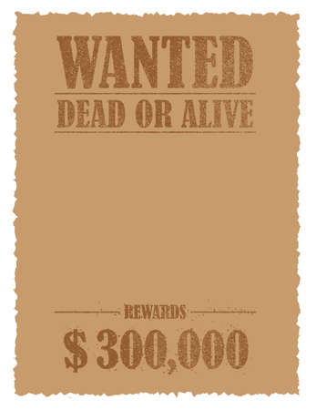 Grunged wanted paper template vector illustration (no face photo frame) .. American Old West.