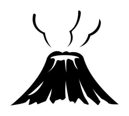 Volcano mountain flat illustration