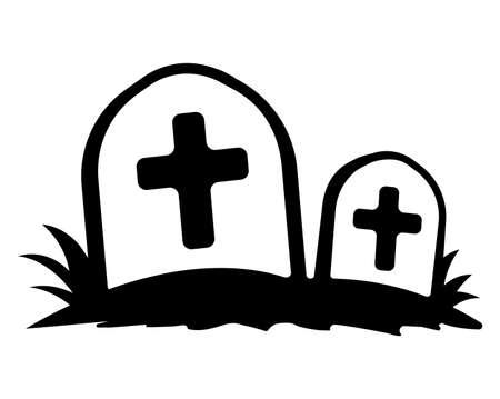 Abolished grave flat icon illustration