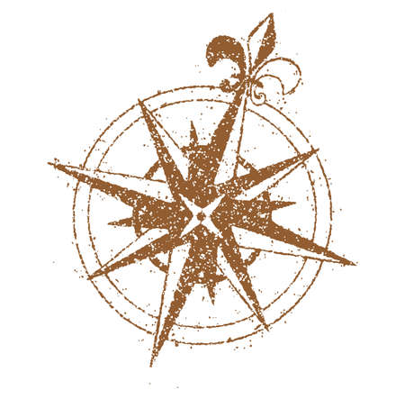 Retro map compass flat illustration
